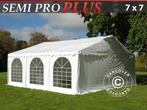 Partyzelt SEMI PRO Plus 7x7m PVC, Weiß