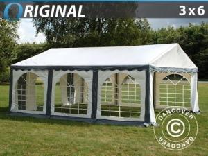 Partyzelt Original 3x6m PVC, Grau/Weiß