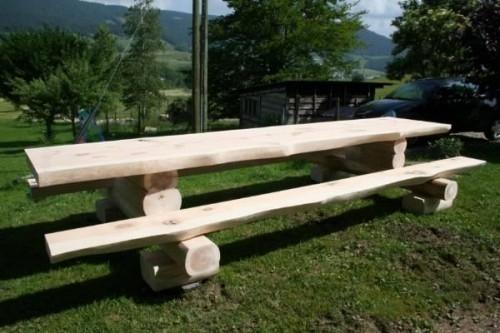 Table en bois massif massiv tisch for Table exterieur en bois massif