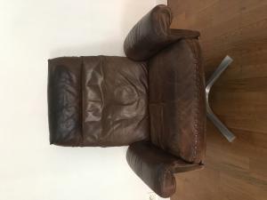 Fauteuil direction vintage pivotant DS 31 cuir marron