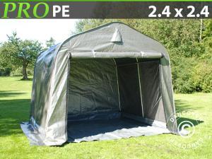 Lagerzelt PRO 2,4x2,4x2m PE, mit Bodenplane, Grau