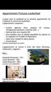 Appartement de vacances rénové à LOECHE-LES-BAINS