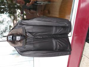 Veste homme cuir nappa brun foncé - jamais porté