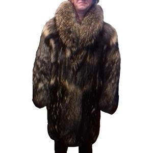 manteau homme en fourrure de Raton laveur