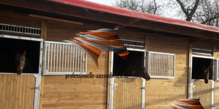 Außenboxen, Pferdestall, Pferdeboxen, Weidehütte,