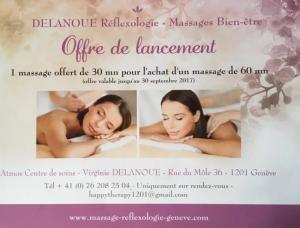 1 massage de 30 mn offert pour l'achat d'un massage d' 1 heure