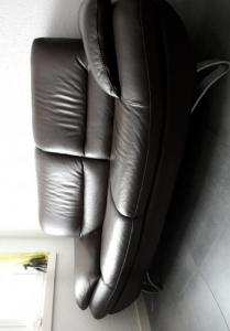 Canapé cuir brun 2 places