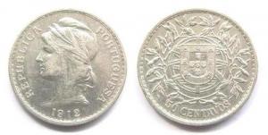 50 Centavos - 1912 Argent