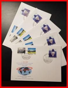 5 enveloppes du 1er tour du monde en ballon