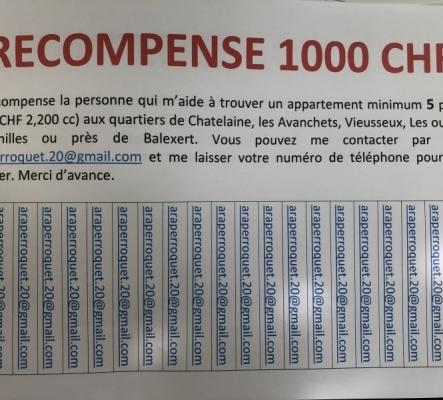 Récompense 1000 CHF Genève