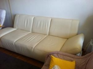 fauteuil en cuir blanc trois places