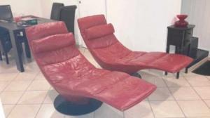 2 fauteuils dormeuses cuir Natuzzi