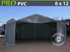Lagerzelt Garagen PRO 6x12x3,7m PVC, Grau