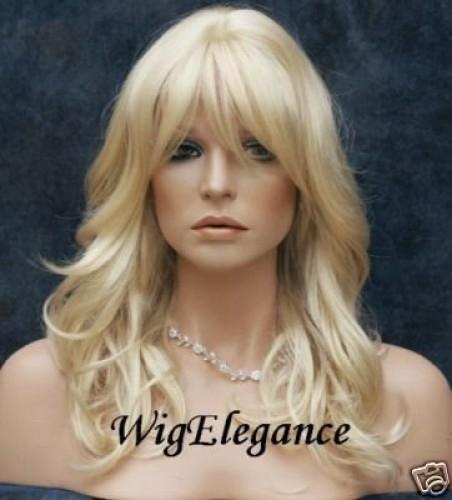 Perruque mi-longue blonde cheveux lisses
