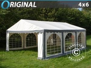 Partyzelt Original 4x6m PVC, Grau/Weiß