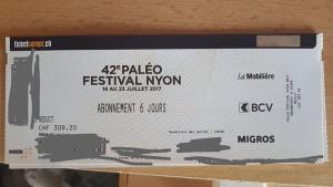 Abonnement 6 jours festival de nyon paléo juillet 2017