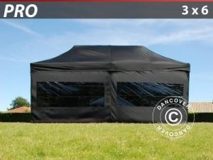 Faltzelt FleXtents PRO 3x6m Schwarz, mit 6 Wänden