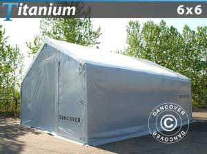 Lagerzelt Titanium 6x6x3,5x5,5m, Weiß / Grau