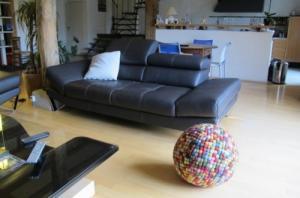 canapé en cuir design coloris expresso