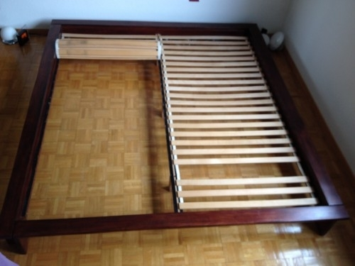cadre de lit en ch ne 180x200. Black Bedroom Furniture Sets. Home Design Ideas