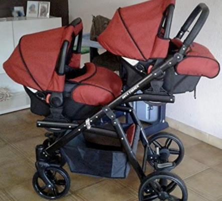 pour jumeaux avec sièges, nacelles, sièges Rouge