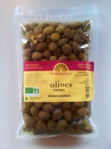 Olives vertes dénoyautées Bio 600gr