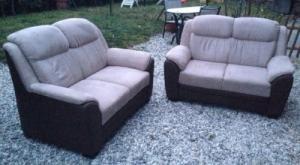 Canapé 2X 2places en cuir et tissu