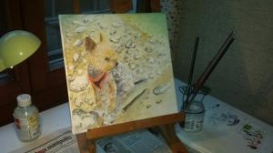 Je serais heureux de faire une peinture de votre chien.
