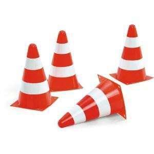 4 X cones orange et blanc (Hauteur 23cm)