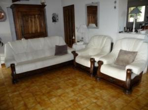 Salon cuir blanc et bois