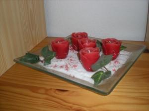 Plateau en verre avec bougies