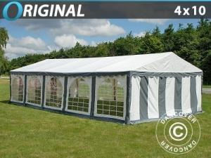 Partyzelt Original 4x10m PVC, Grau/Weiß