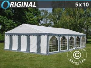 Partyzelt Original 5x10m PVC, Grau/Weiß