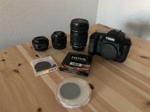 Kit Canon 7D + 3 optiques + filtre ND + trépied