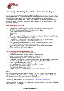 Marketing Coordinator - Swiss German Region