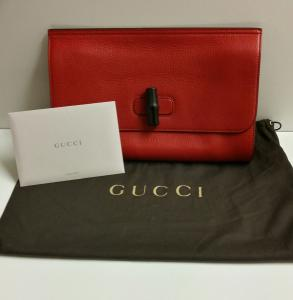 Vente pochette Gucci Bamboo Daily en cuir rouge