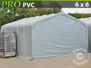 Lagerzelt Garagen PRO 6x6x3,7m PVC, Grau