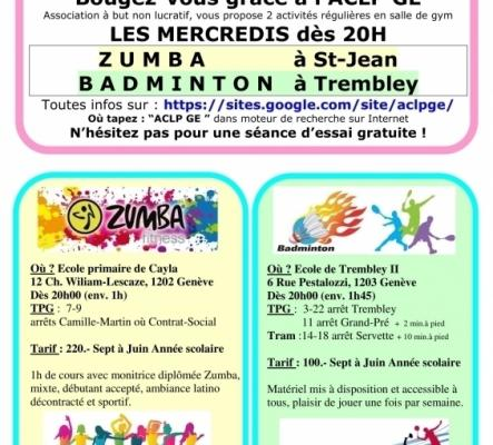 Badminton mercredi 20h Genève