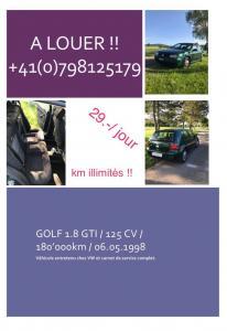 A louer Golf 1.8 GTI 29.- par jour Km illimités