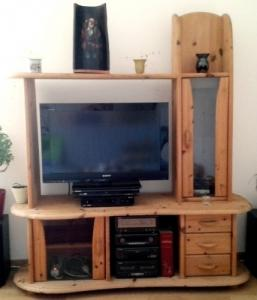 Paroi TV-HIFI en bois massif