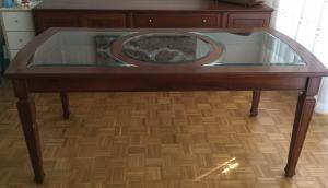À vendre: table en merisier massif et verre