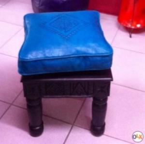 Tabouret bois/cuir artisanat marocain