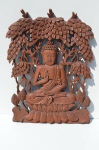 Bouddha en bois murale 50cm